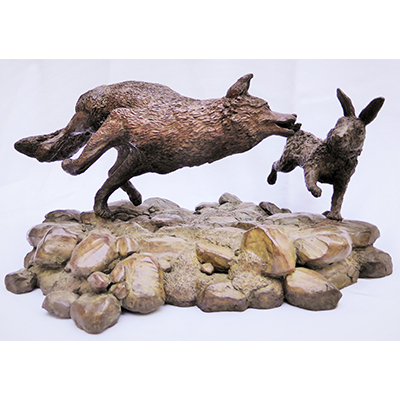 Gilles CHARRIERE sculpture lapin loup sculpture animalier
