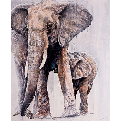 Julie SALMON peinture elephants peintre animalier