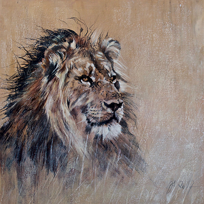 Julie SALMON peinture lion peintre animalier